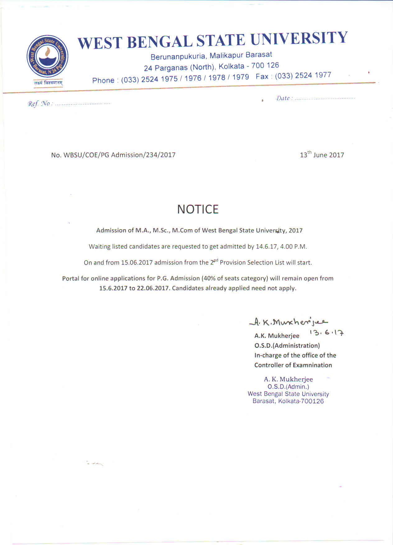 Wbsu of commerce management notice for pg admission 2017 18 yadclub Gallery
